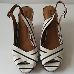 Cream and navy sling back peep toe sandals